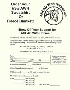 Sweatshirt and blanket order form 2015