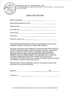 Liability Release Form 2016 on letterhead